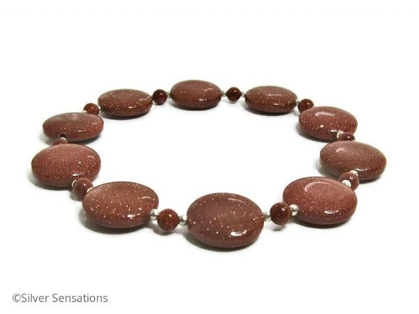Sparkly Tan Brown Goldstone Coin Beads & Sterling Silver Stretch Bracelet | Silver Sensations